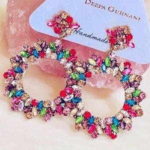 NWT Deepa Gurnani Crystal Rainbow Chandeliers